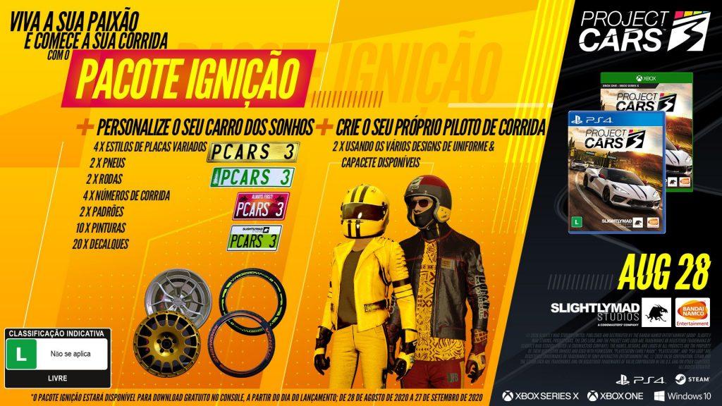 Pacote Ignição exclusivo da pré-venda de Project CARS 3